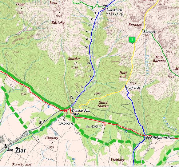 Mapa - Žiarska dolina
