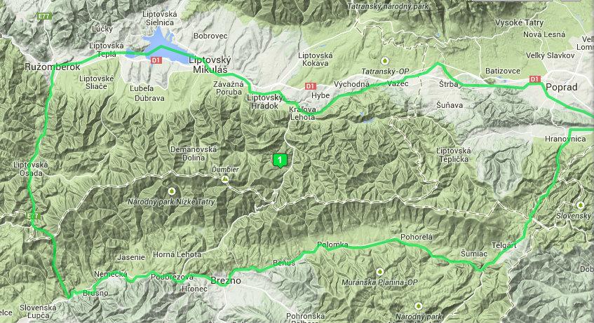 Mapa - Hrebeň Nízkych Tatier